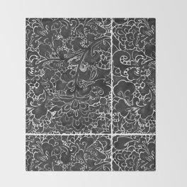 Watercolor Chinoiserie Block Floral Print in Black Ink Porcelain Tiles Throw Blanket