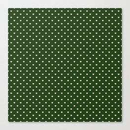 Small White Polka Dot Hearts on Dark Forest Green Canvas Print