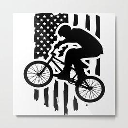 Bmx Bike Distressed American Flag Wheelie Biker Metal Print