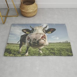 Inquisitive Cow Rug