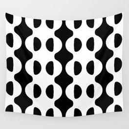 BLACK AND WHITE GEOMETRIC WAVES AND HALF CIRCLE Wall Tapestry