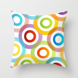 Colorful circles in vibrant colors Throw Pillow