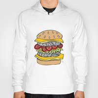 burger Hoodies featuring Burger by Amber Lily Fryer