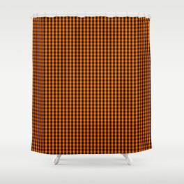 Dark Pumpkin Orange and Black Gingham Check Pattern Shower Curtain