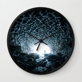 Glacial Ice Cave in the Mountains - Landscape Photography Wall Clock