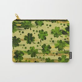 Irish Shamrock -Clover Abstract Gold and Green pattern Carry-All Pouch