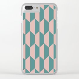 Classic Trapezoid Pattern 236 Dusty Rose and Teal Clear iPhone Case