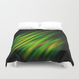 Colorful neon green brush strokes on dark gray Duvet Cover