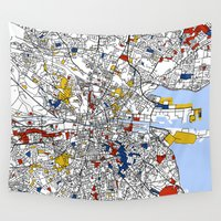 mondrian Wall Tapestries featuring Dublin mondrian by Mondrian Maps