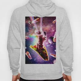 Outer Space Taco Cat - Rainbow Laser Eyes, Burrito Hoody