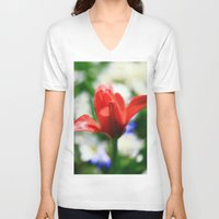 tulips V-neck T-shirts featuring tulips by Falko Follert Art-FF77