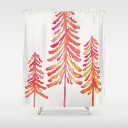 Pine Trees – Pink & Peach Ombré Shower Curtain