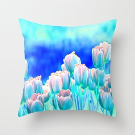 Tulips in Spring Abstract Throw Pillow