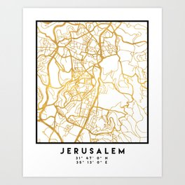 JERUSALEM ISRAEL PALESTINE CITY STREET MAP ART Art Print