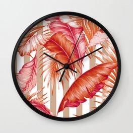 HAWAIIAN GARDEN TROPICAL LEAVES | coral peach taupe Wall Clock