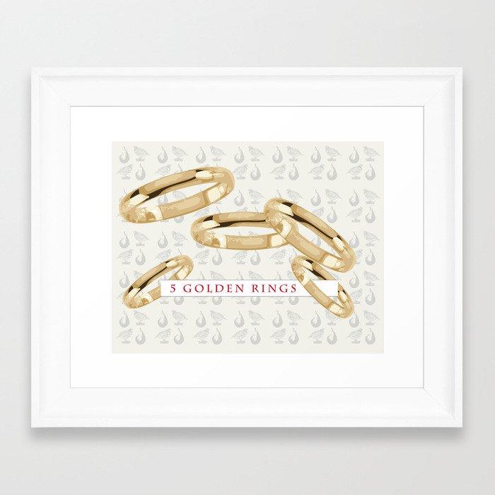Five Golden Rings Framed Art Print