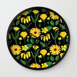 Sunshine yellow watercolor hand painted floral daisies Wall Clock