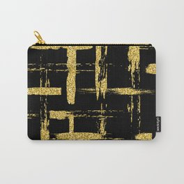 Gold glitter brush on black Carry-All Pouch