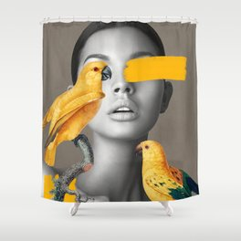 Girl with Parrots Shower Curtain