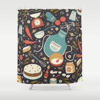 coasters Shower Curtains featuring Carrot Cake by Anna Deegan
