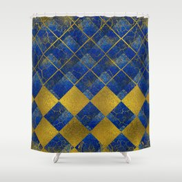 Lapis Lazuli and gold pattern Shower Curtain