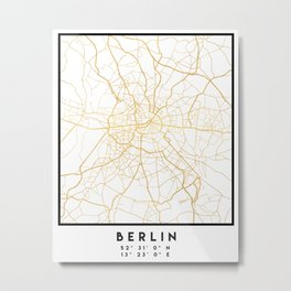 BERLIN GERMANY CITY STREET MAP ART Metal Print