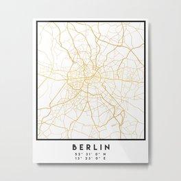 BERLIN GERMANY CITY STREET MAP ART Metal Print