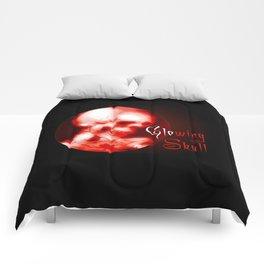 glowing red halloween skull Comforters