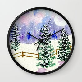 Winter Pasture L Wall Clock