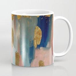 Gold Leaf & Indigo Blue Abstract Coffee Mug