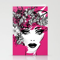 fashion illustration Stationery Cards featuring fashion illustration by Irmak Akcadogan