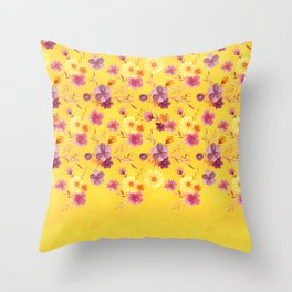 Golden // Sunny Floral Print Throw Pillow