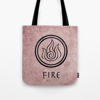 avatar the last airbender Tote Bags featuring Avatar Last Airbender Elements - Fire by bdubzgear