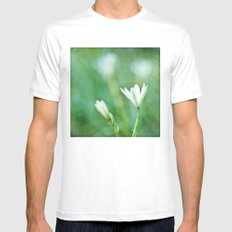 white flowers White MEDIUM Mens Fitted Tee