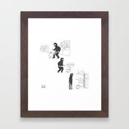 Mochi the pug helping a burglar out Framed Art Print