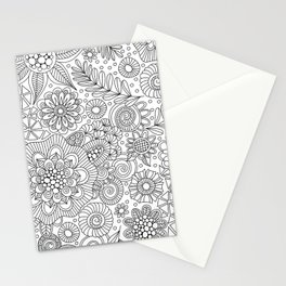 White Doodle Pattern Stationery Cards