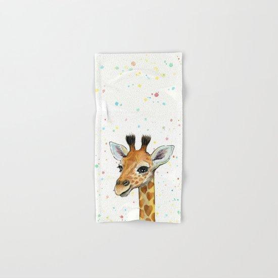 Baby Giraffe with Hearts Watercolor Whimsical Animal Nursery Print Hand & Bath Towel