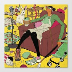Woman in Clutter Canvas Print