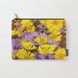 COFFEE BROWN YELLOW LILAC FLOWERS Carry-All Pouch