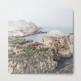 Salt Flats   Misty Foggy Landscape Photography of California Ocean Coast Metal Print