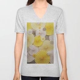 Yellow Umbrellas Abstract Repeat Pattern Unisex V-Neck