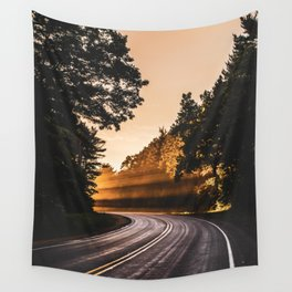Bright Light Along the Road in Wisconsin Wall Tapestry