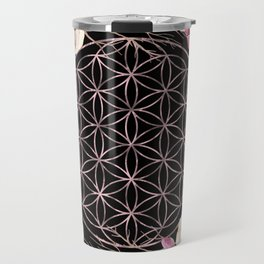 Flower of Life Rose Gold Garden on Black Travel Mug