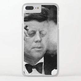 John F Kennedy Smoking Clear iPhone Case