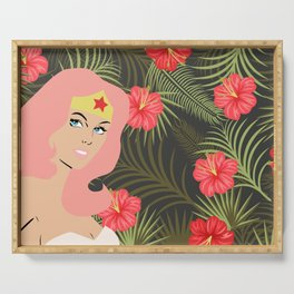 woman of wonder pink hair in tropical setting Serving Tray