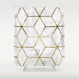Gatsby golden marble Shower Curtain
