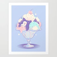 snorlax Art Prints featuring Sweet Tooth Sundae by Miski