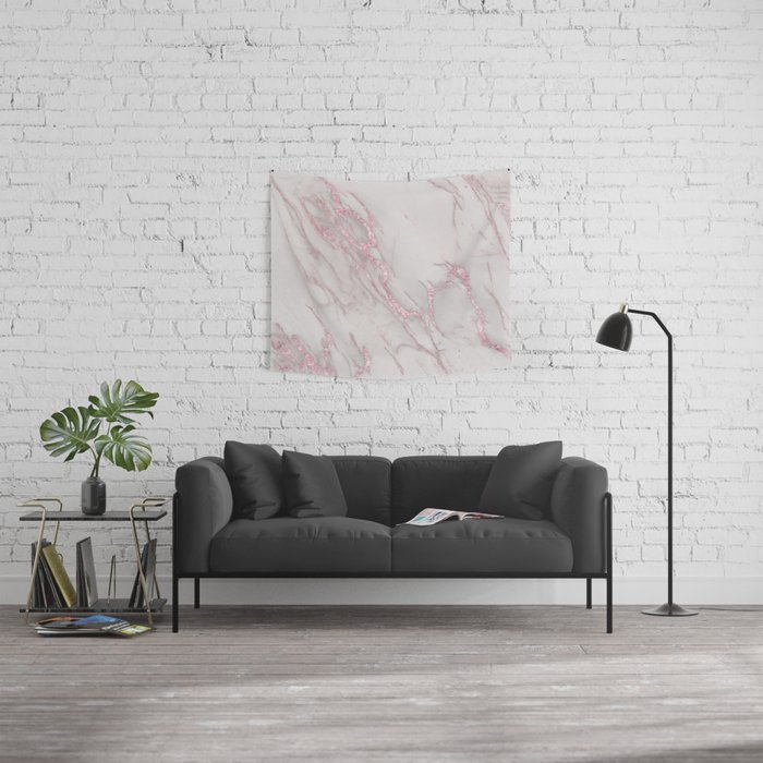 Marble Love Rose Gold Pink Metallic Wall Tapestry