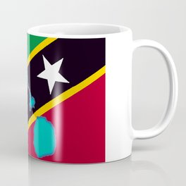 St. Kitts and Nevis Flag with Island Maps Coffee Mug
