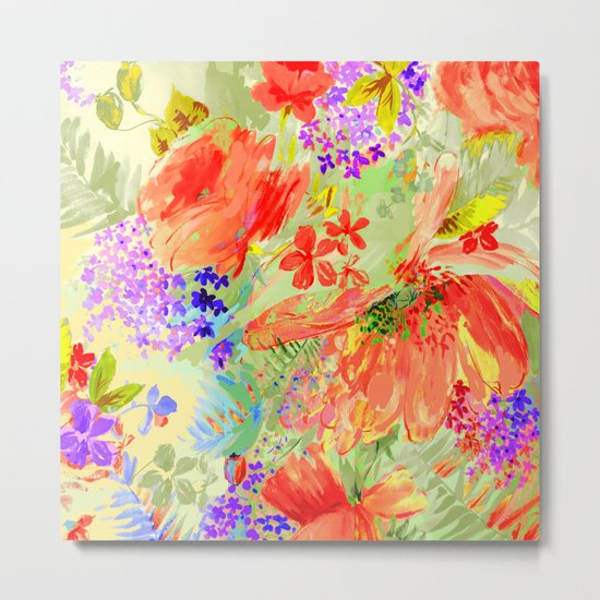 abstract floral hot Metal Print